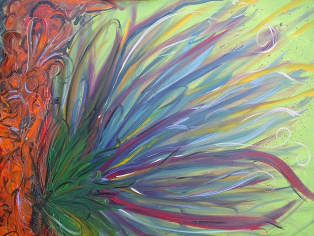 oil on canvas, abstract, flower, wild, colorful
