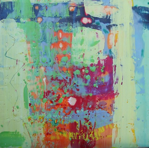 encaustic, multi-colored, layers, abstract