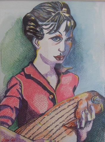 woman holding fish, colored pencil, watercolor, portrait
