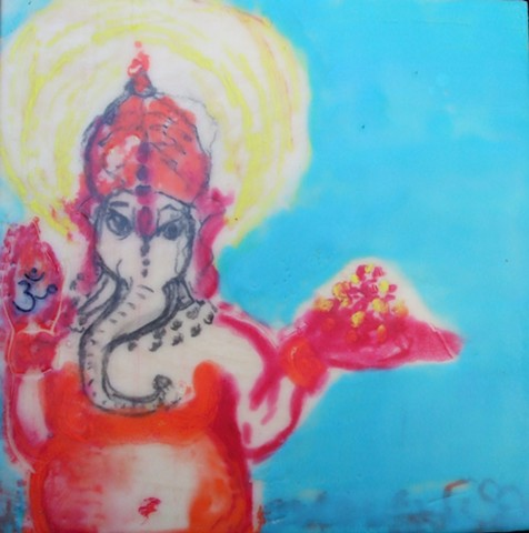 Ganesh in bright colors.