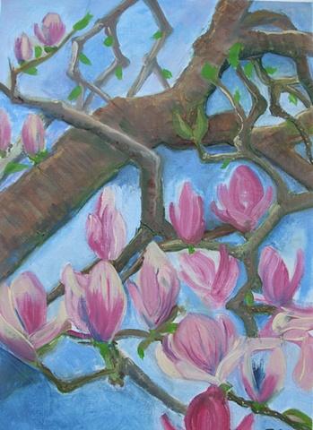 oil painting, magnolias, canvas paper