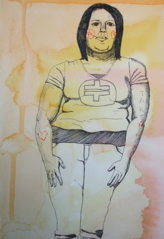 portrait, TAKE THAT, groupie, watercolor, drawing, pen and ink