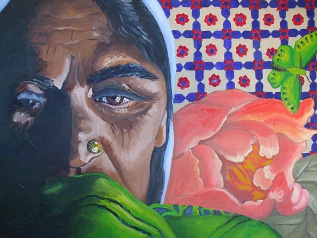 Pakistan, woman, portrait, oil on canvas