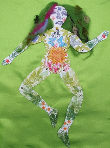 Art doll, paper doll, mother nature, wool, assemblage