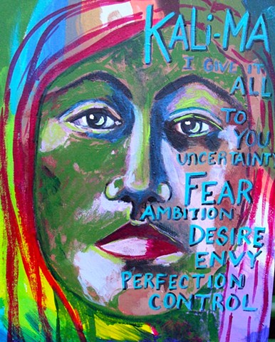 Acrylic on canvas, collaboration with Brian Keathley, portrait with text, Kali-Ma
