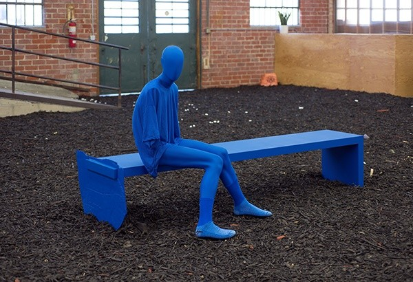 Sayre Gomez Bench with Figure (Angst Model) in Cerulean