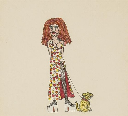 Keith Haring Untitled (Queen of Hearts with Dog on Leash)