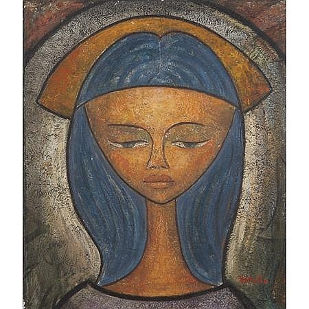 Angel Botello Portrait of Jane / Blue Madonna