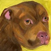 A4228804 Original Chocolate Pit Bull Painting