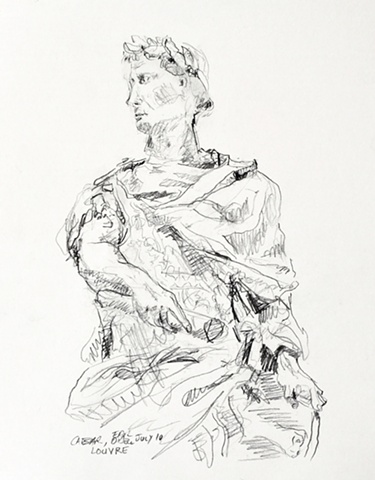 Caeser from Louvre, Paris, pencil, 2010