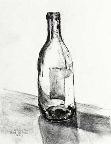 Bottle, Paris, charcoal, 2010