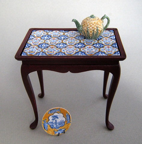 Miniature tile top tea table