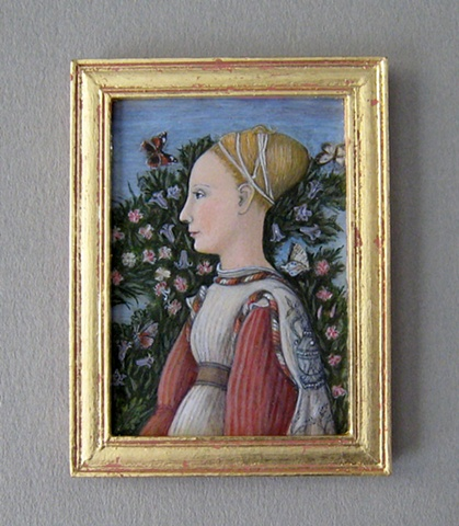 1/12 scale miniature egg tempera reproduction Pisanello painting by LeeAnn Chellis Wessel
