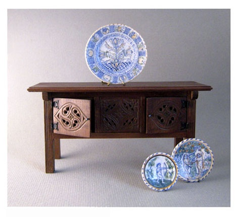Medieval Counter Table with Blue Dash Delftware Chargers