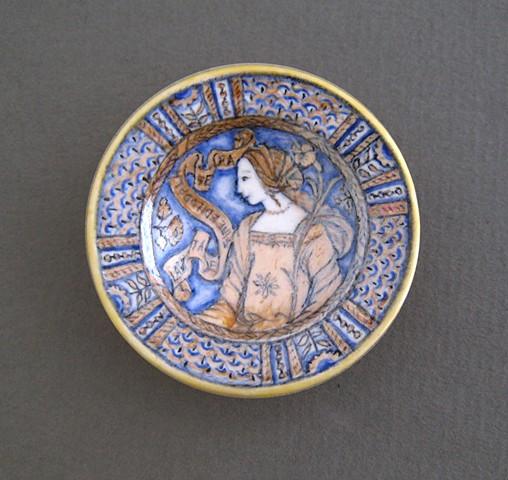 handmade miniature ceramic plate replica of antique
