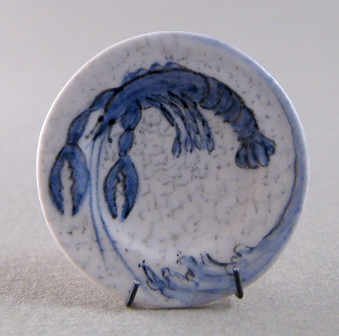 1/12 scale miniature reproduction of Dedham Pottery plate by LeeAnn Chellis Wessel
