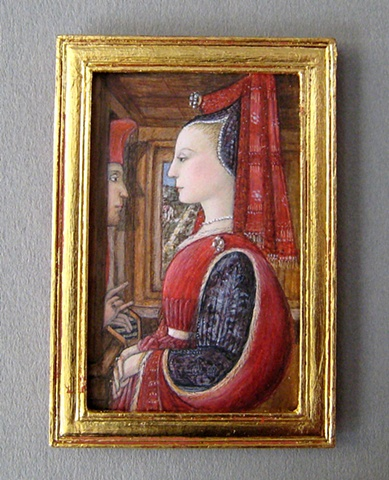1/12 scale miniature egg tempera reproduction  Fra Filippo Lippi  painting by LeeAnn Chellis Wessel