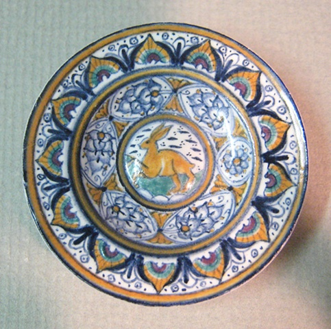 1/12 scale miniature reproduction of  Italian Renaissance ceramic maiolica dish by LeeAnn Chellis Wessel