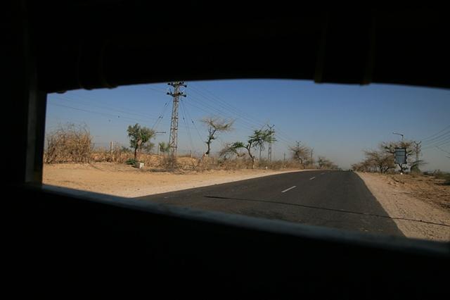 Desert road; Thar Desert, Rajasthan