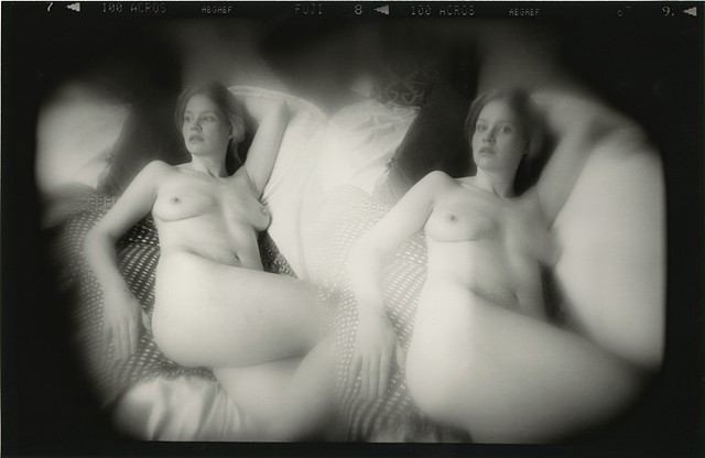 Double exposure from a Holga camera, darkroom printed.