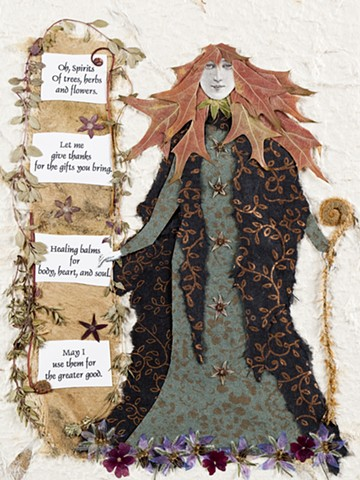 pressed flowers, wise woman, pressed plants, botanical collage, Dinise Mustain