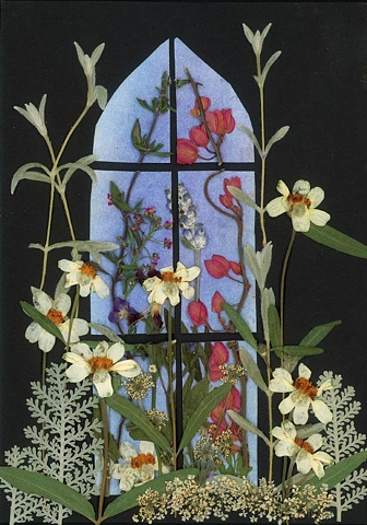 pressed flowers, botanical collage, cards, Dinise Mustain