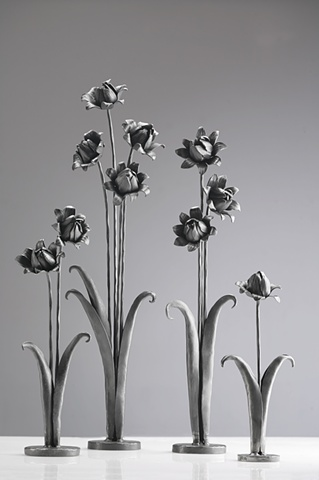 Freestanding Forged Flowers