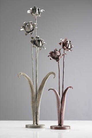 Freestanding Forged Flowers in color!