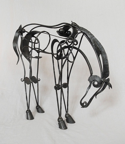 Forged contemporary equestrian sculputre