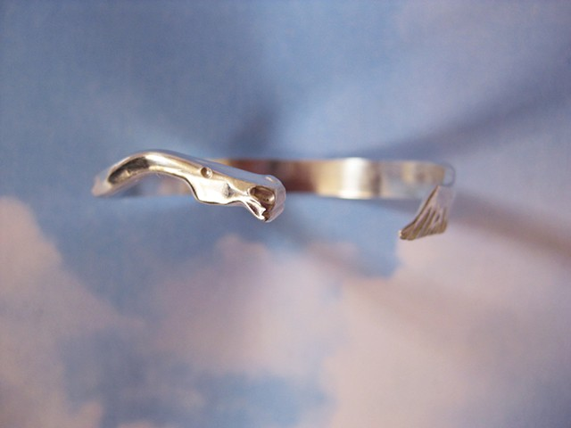forged sterling silver bracelet with horse head and tail