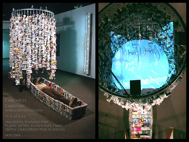 Chronicle Labyrinth   Interactive Installation Exterior view (left)    Aerial view from inside (right)