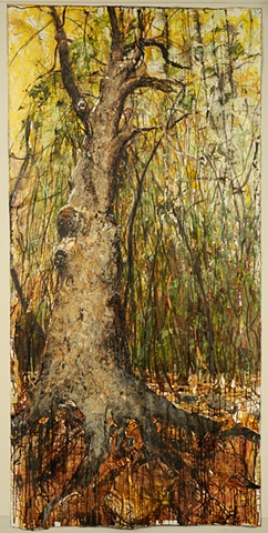 Large painting Old tree Forest Roots Powerful Sacred contemplitive meditative, inspirational