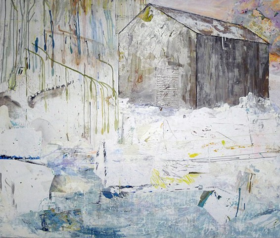 Contemporary winter barn landscape, white, silver, ice blue, pond glow pink