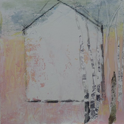 contemporary barn, landscape, bright, fun, cheery, pink, birch trees, collage