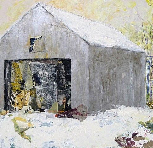 home, barn, contemporary landscape, winter, trees, abstract art, metallic silver, gold