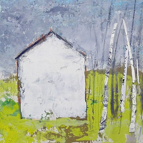 white house, white birch trees, green, contemporary landscape