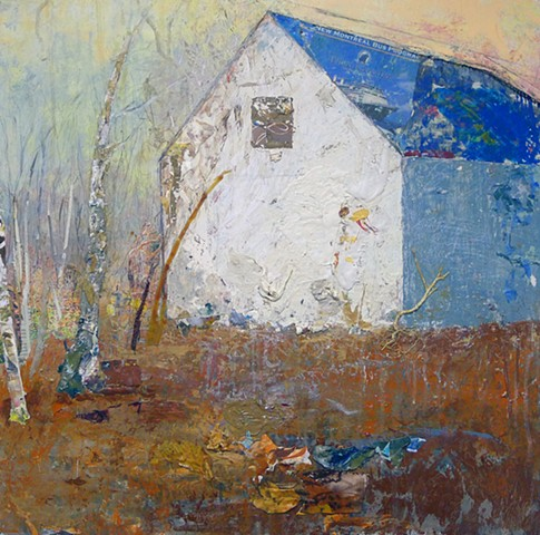 Abstract art contemporary landscape, barn, tree, mixed media, blue, silver, glowing, copper, warm, mixed media, organic