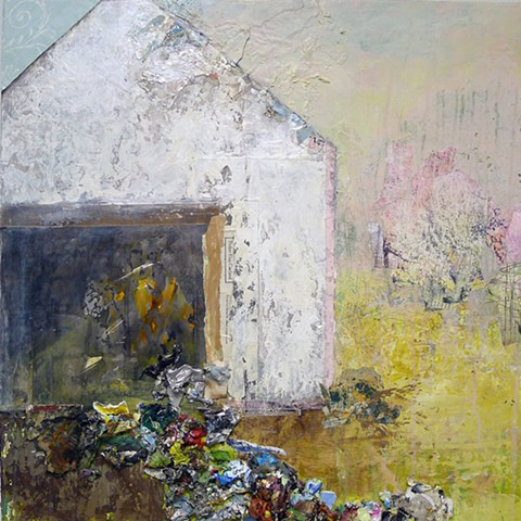 Yellow, pink, spring, new england, barn, contemporary landscape. mixed media