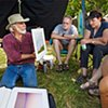 Steve Giving us his Portfolio Overview in the Orchard  Aug 2017