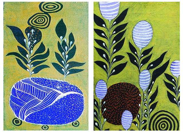 Black leaves -I,II / 2005  /Acrylic paints,sewing / 9 x 15 (inches)-each