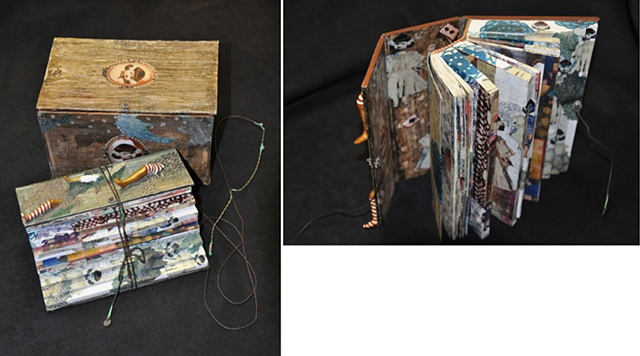 Inviatation from Alice / 2008 / Bookmaking , old dictionary , paper clay, digital printed images ,collage ,epoxy resin / 4 1/2 x 6 x 4 (inches)