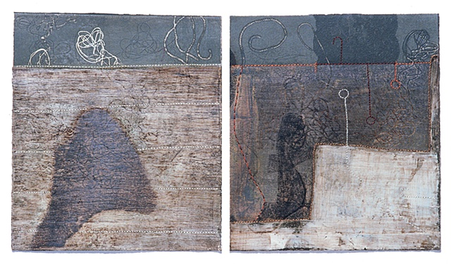 Afternoon -I,II / monotype,painting,sewing / 9 x 11 (inches)-each