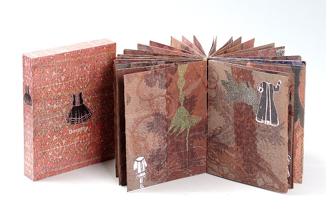 Dorothy / 2008 / Bookmaking, monotype,collage,drawing,gigital printed images / 6 x 7 1/2 x 1 1/4 (inches)