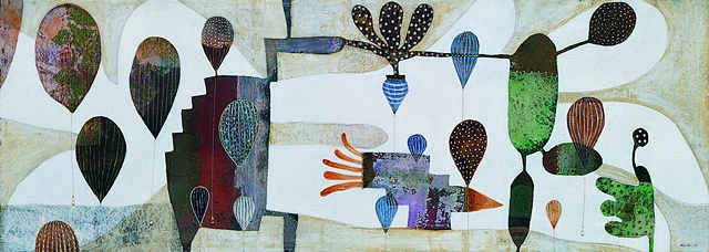 Balloons-IV /2004 / Monotype,painting,sewing,beads/ 42 x 16 (inches)