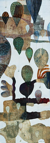 Balloons-III/ 2004 /Monotype,painting,sewing,beads / 16 x 42 (inches)