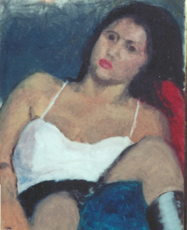 Portrait of a young woman reclining in a chair