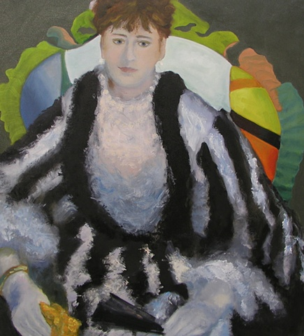 woman, chair, dress, black, white, chair, Renoir, impressionist