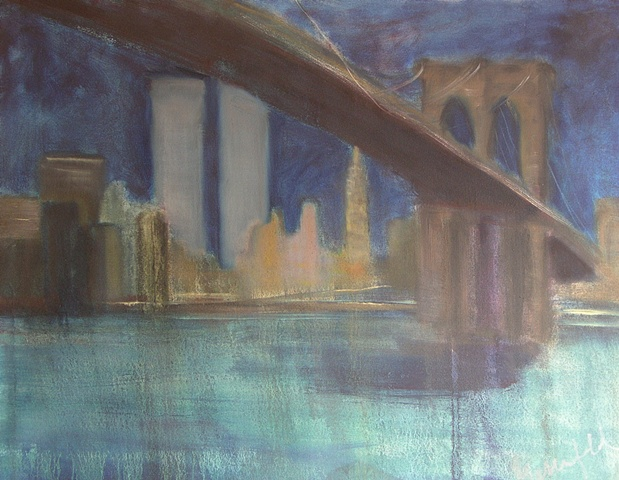 Painting of Brooklyn Bridge at Night Cityscape