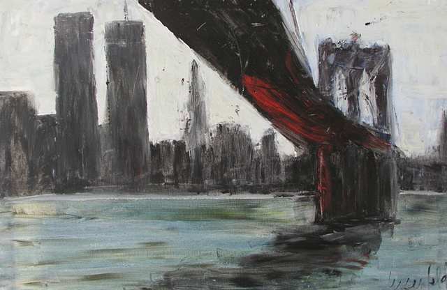 Surrealistic painting of Brooklyn Bridge with red pigment and black and white cityscape of Manhattan overlooking the east river