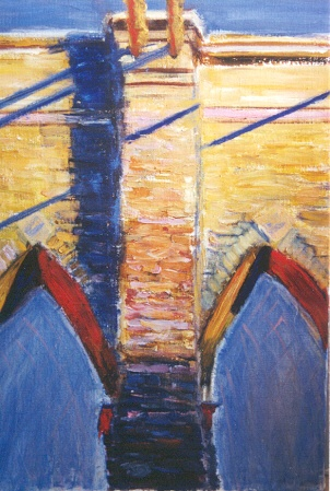 Painting of Brooklyn Bridge's Two Arches in the sunlight